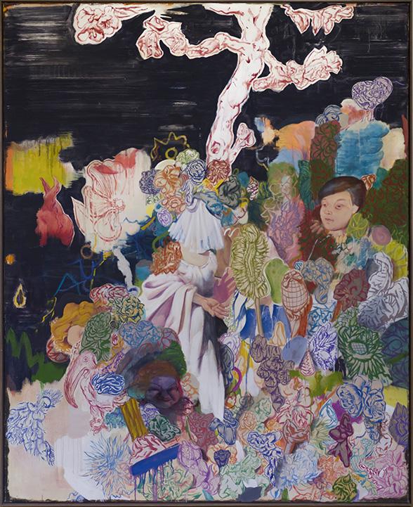 Bodo Rott | Die Offenbarung - Drei Mädchen im Versteck, 160 x 130 cm, 2016, Öl / Lw
