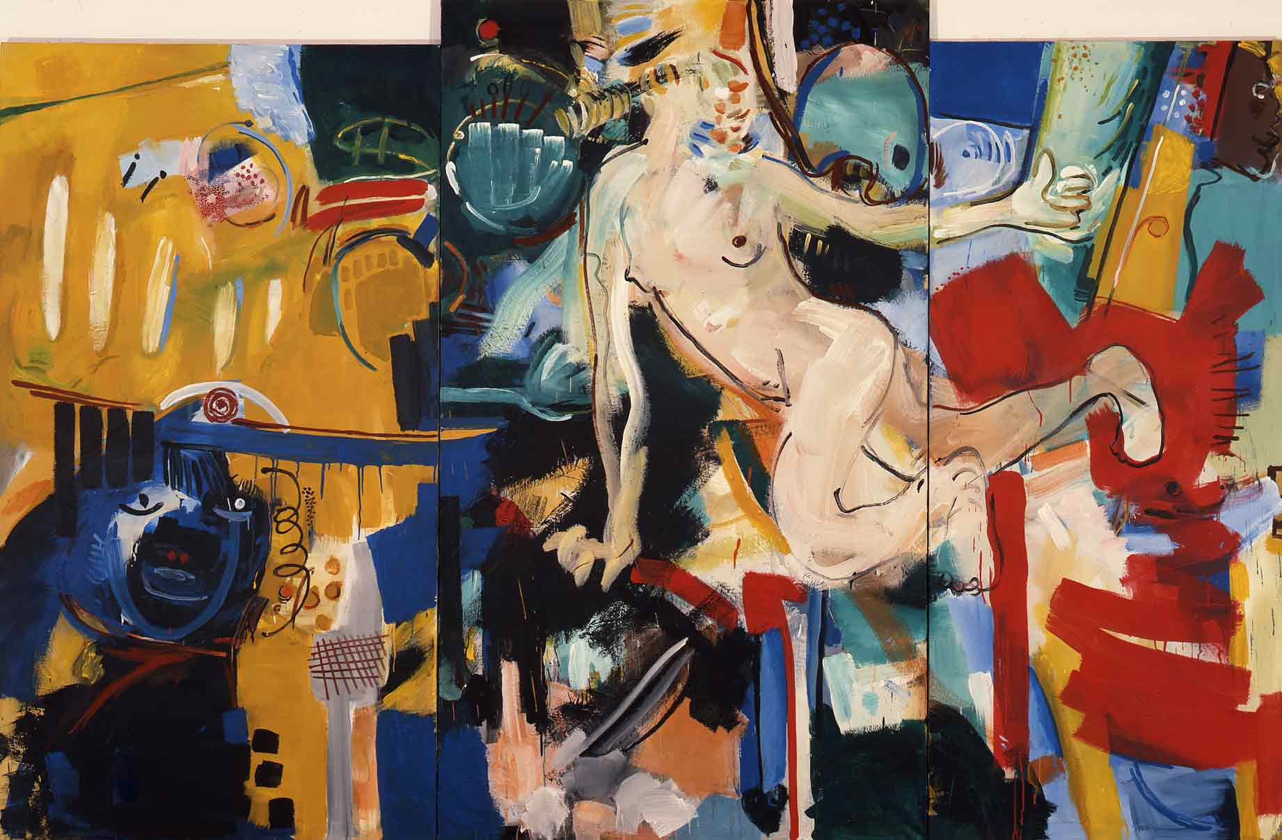 Bad Better Best - Tryptichon, 1989, Acryl Leinwand, 190 x 300 cm