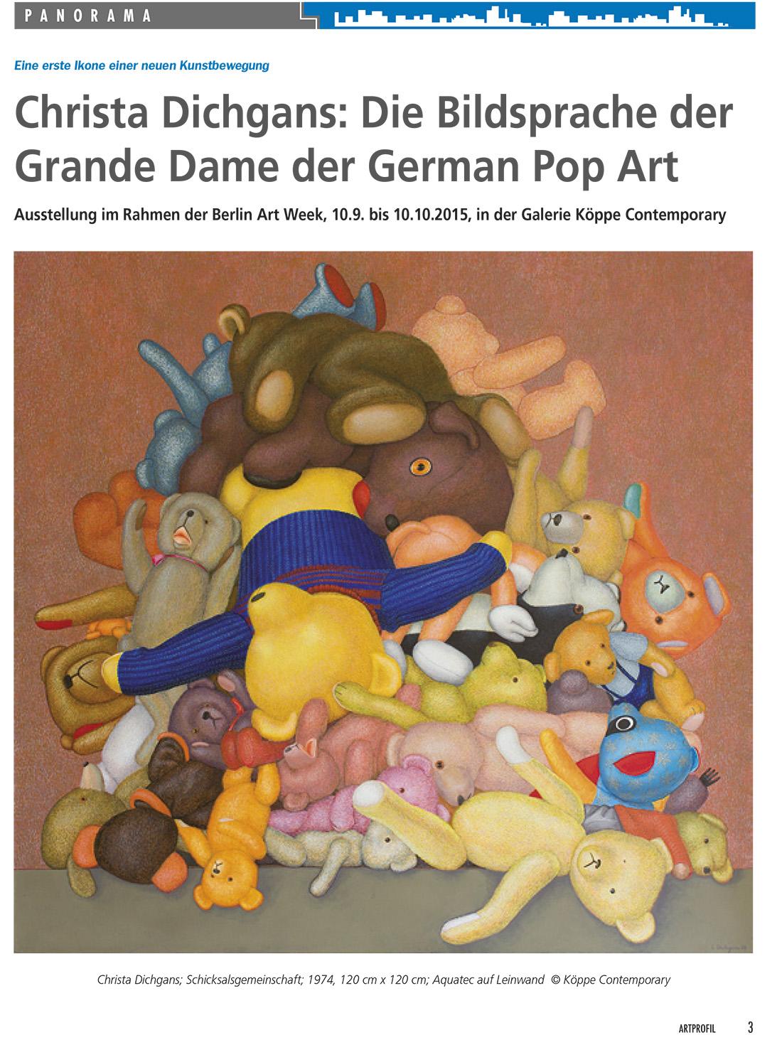 Christa Dichgans - Art Profil 110 / 2015