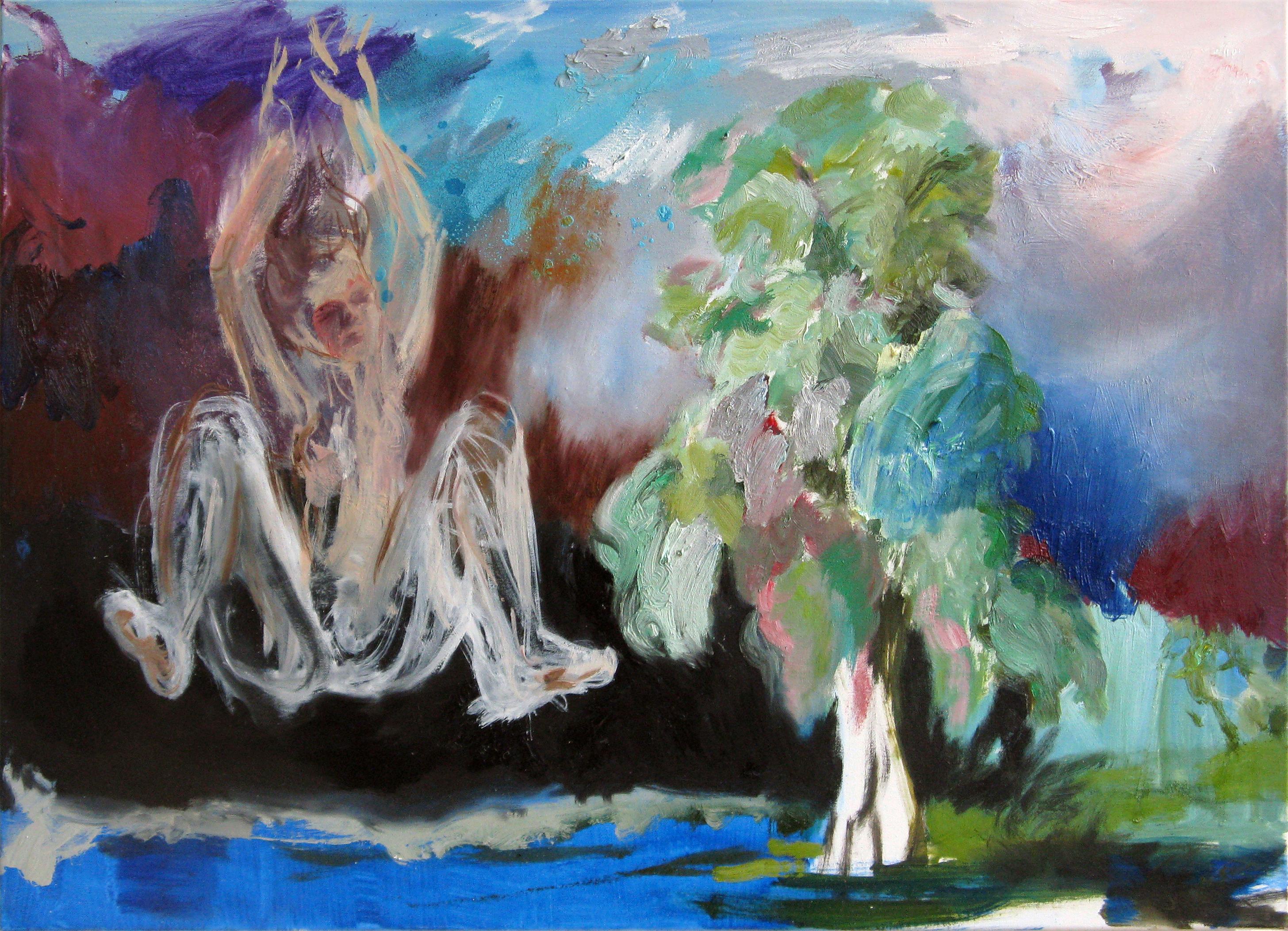 Falling | Öl und Spraydose auf Leinwand, 50 x 70 cm, 2010