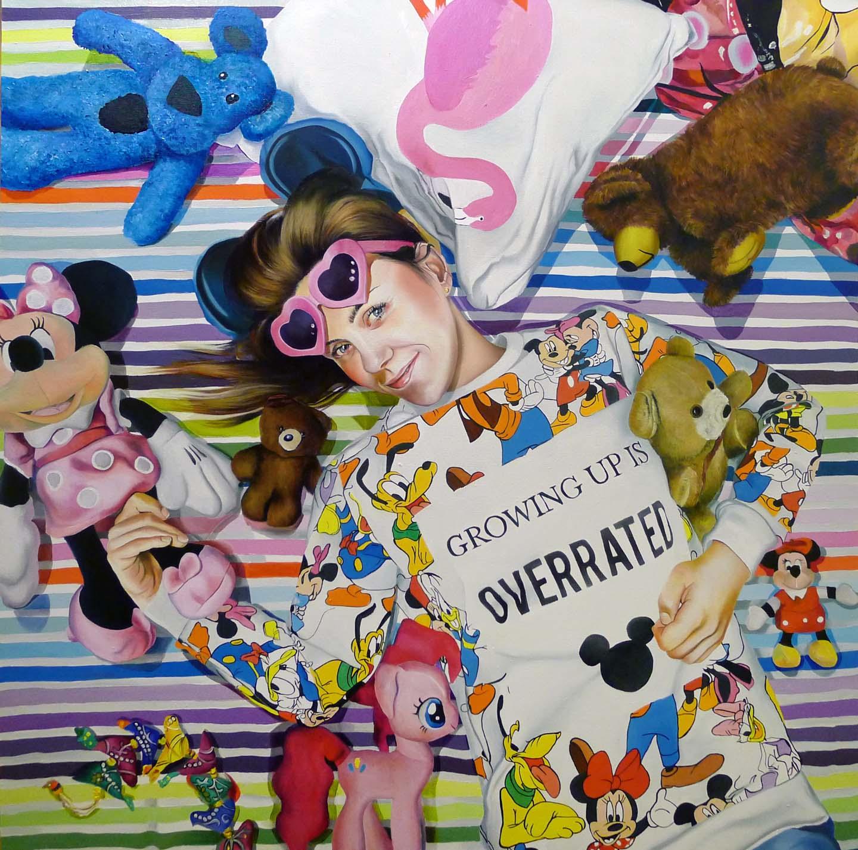 Growing up is overrated - 2014, 90 x 90 cm, Öl / Lw