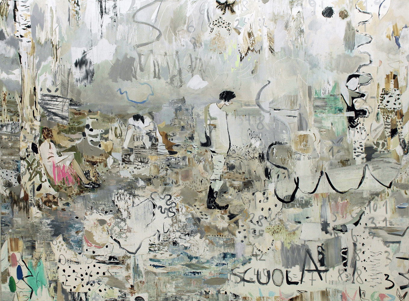 Kevin A. Rausch | Class Bunkers, mixed media on canvas – 200 x 270 cm, 2016