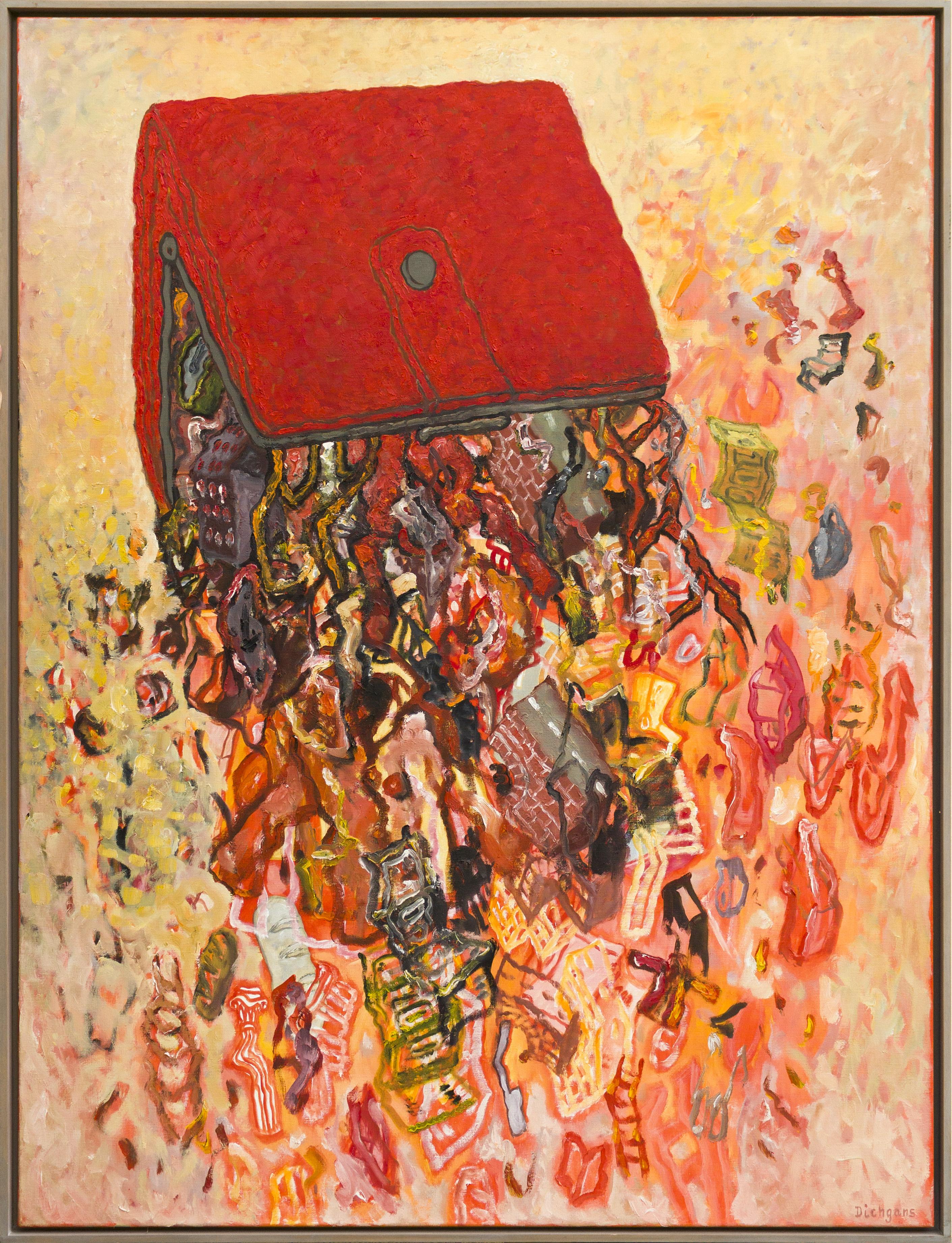 Rotes Portemonnaie - 1990, 160 x 120 cm, Öl /Lw