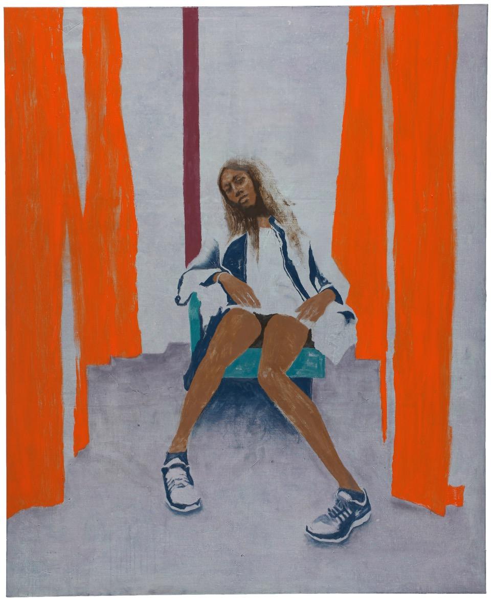 Henri Haake | Sitzende II – 220 x 180 cm, Öl auf L., 2016