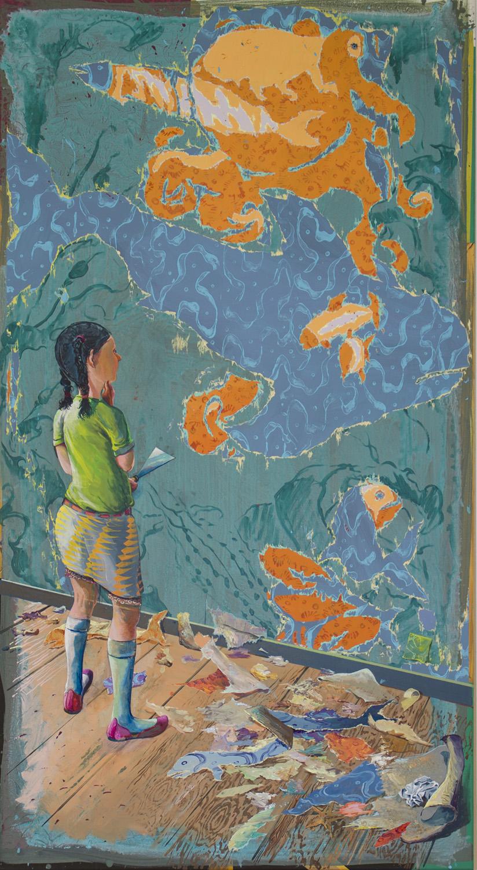 Arno Bojak | Nemos Nichte, 2016, 200 x 110 cm, Acryl auf Nessel