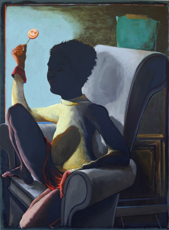 Arno Bojak   Blackface Balthus, 95 x 70 cm, Acryl auf Nessel
