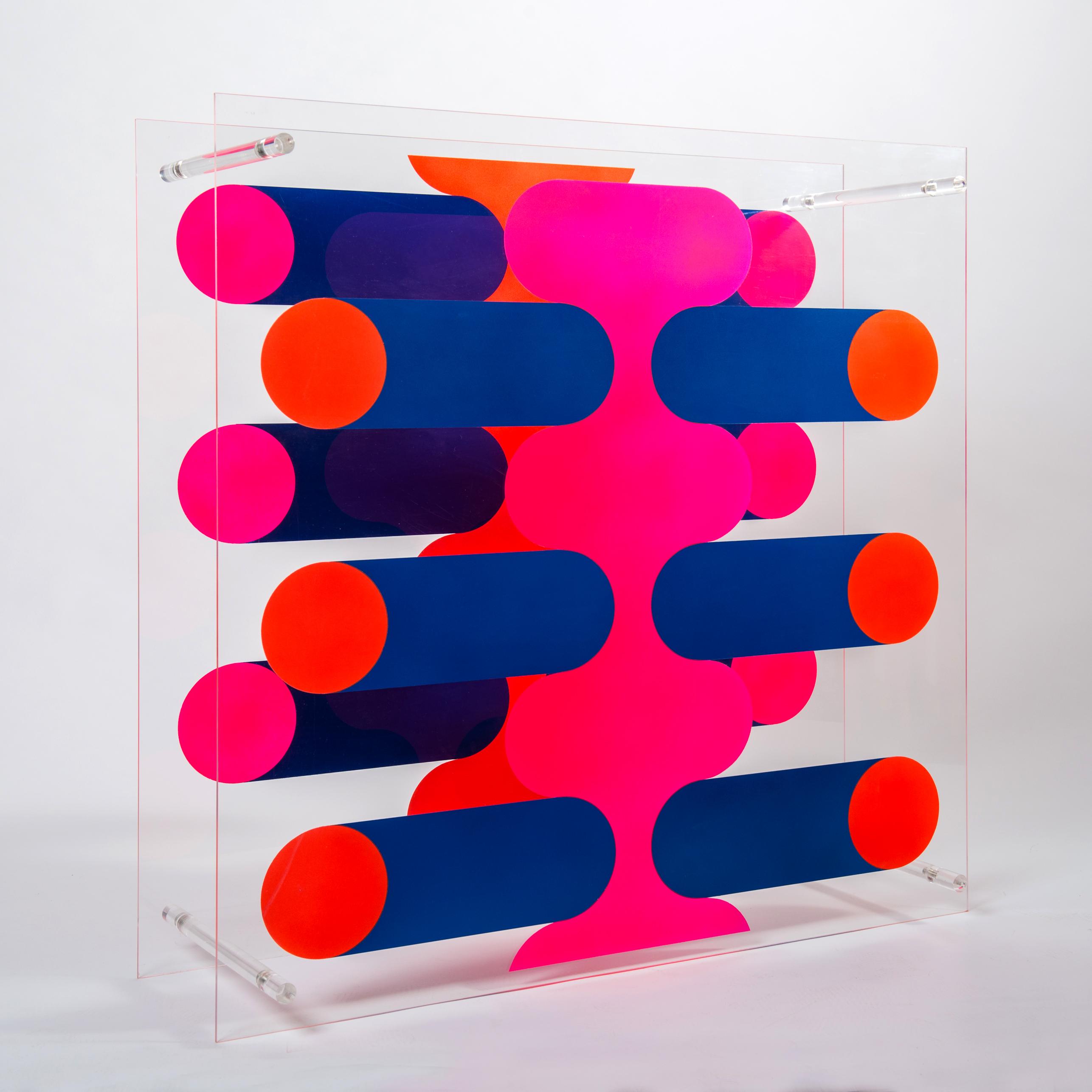 Raumobjekt | Sprühfarbe auf Acrylglas, 90 x 90 x 26 cm, 1970