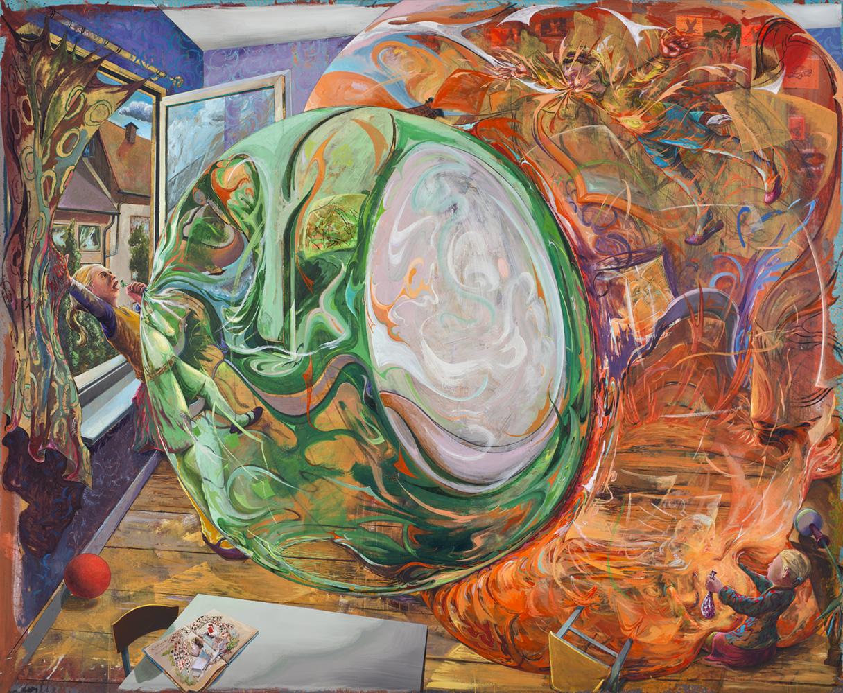Arno Bojak | Mona und Lisa Pumpauf, 240 x 290 cm, 2016, Acryl auf Nessel