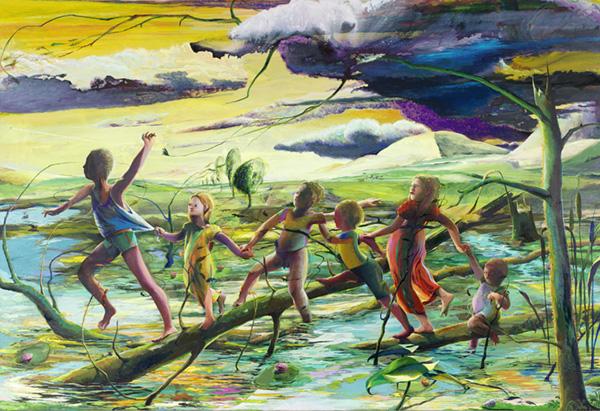 Arno Bojak - Schaurig ist`s, übers Moor zu gehn, 220 x 320 cm, 2015, Acryl auf Nessel