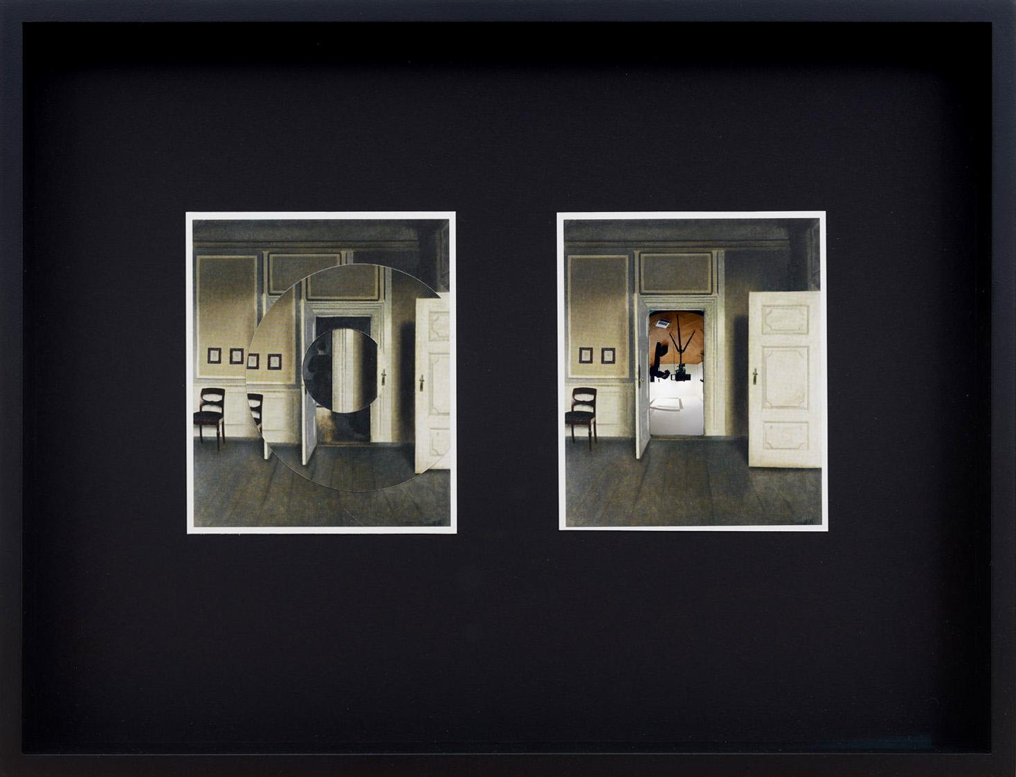 ULRICH VOGL | Hammershoi 3, 29,5 x 38,5 cm, 2017, Postkartencollage