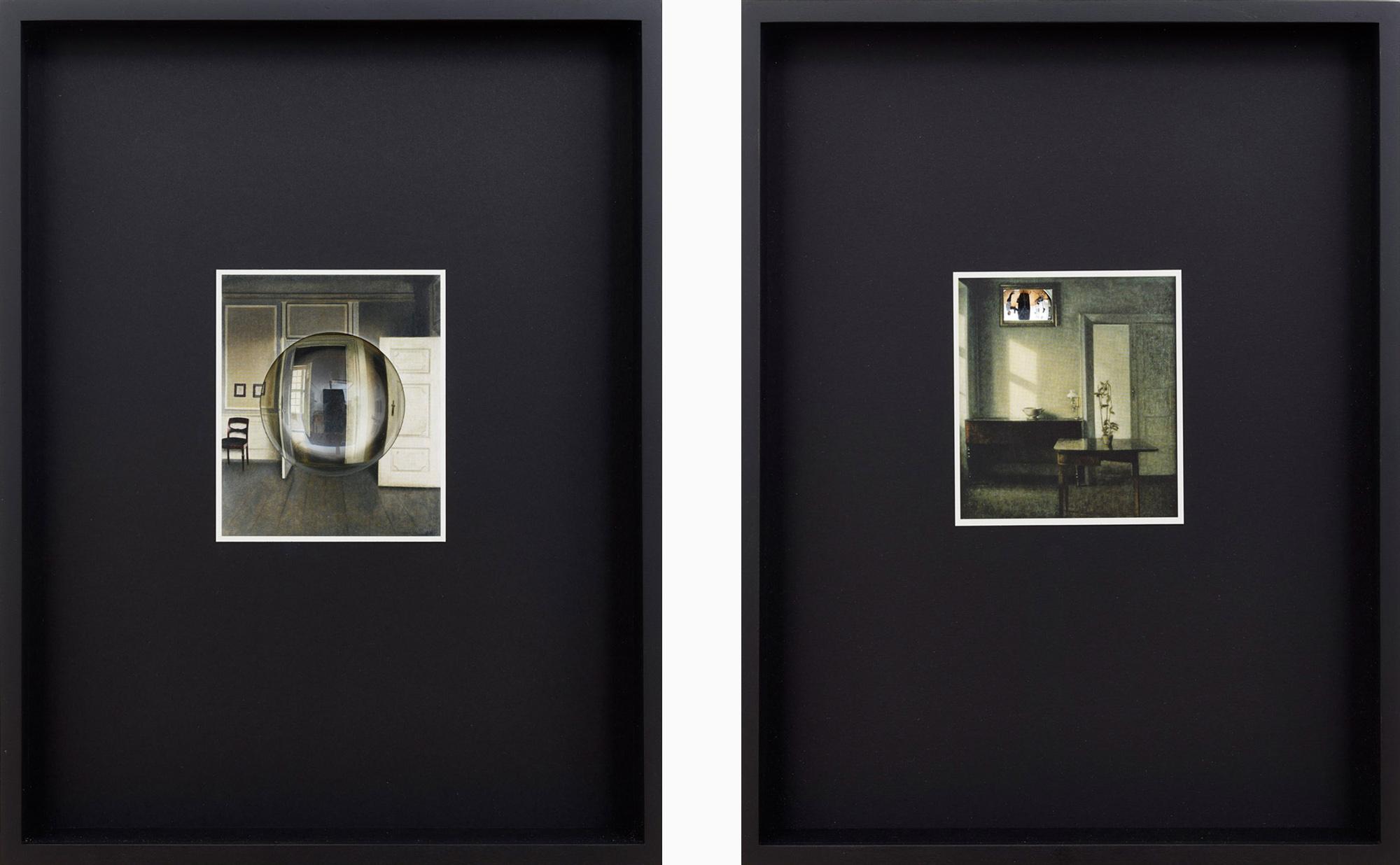 Ulrich Vogl | Hammershoi 3 / 4, 2017, Papier, Spiegel, Rahmen, je 38,5 x 29,5 x 5 cm