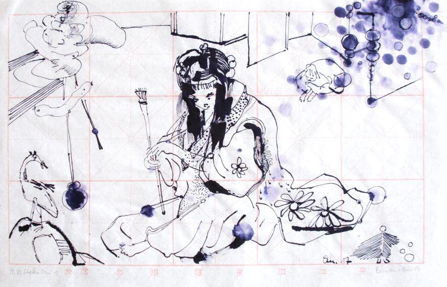 Barbara Quandt | Miss Hokusai 1, 2017, Antiktusche auf China-Papier, 26 x 41 cm