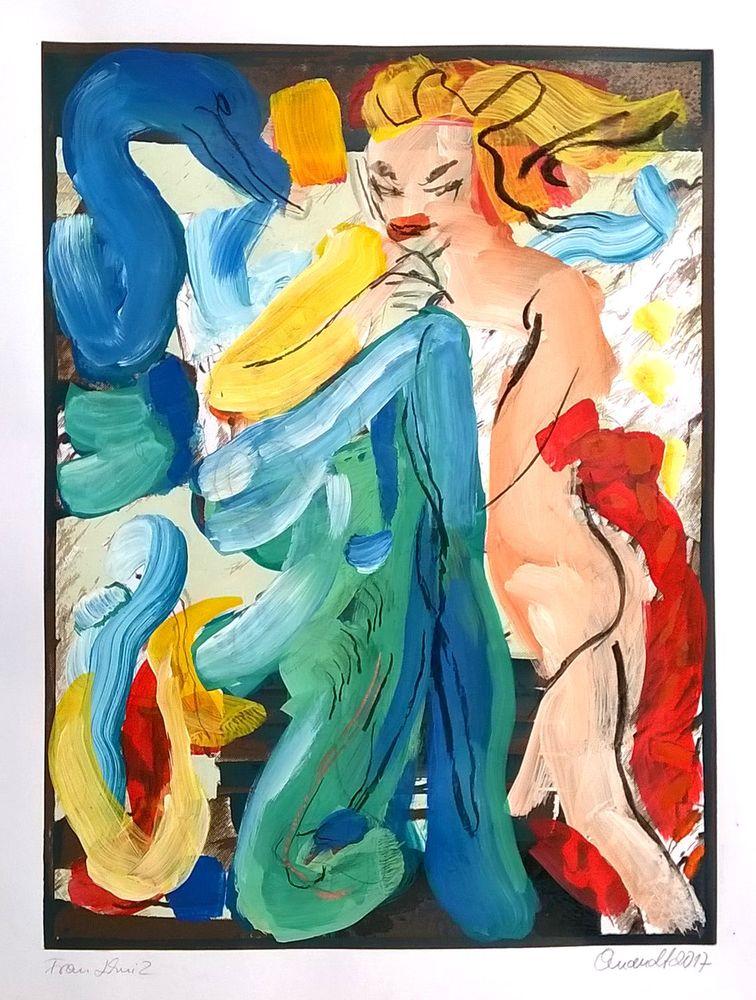 Barbara Quandt | Frau Lehni 2, 2017, Acryl / Kohle auf Papier, 70 x 54 cm