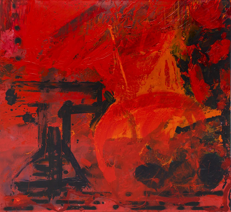 ter Hell - Vorfreude Gelaende, 165 x 180 cm, 2000, Mischtechnik auf Leinwand