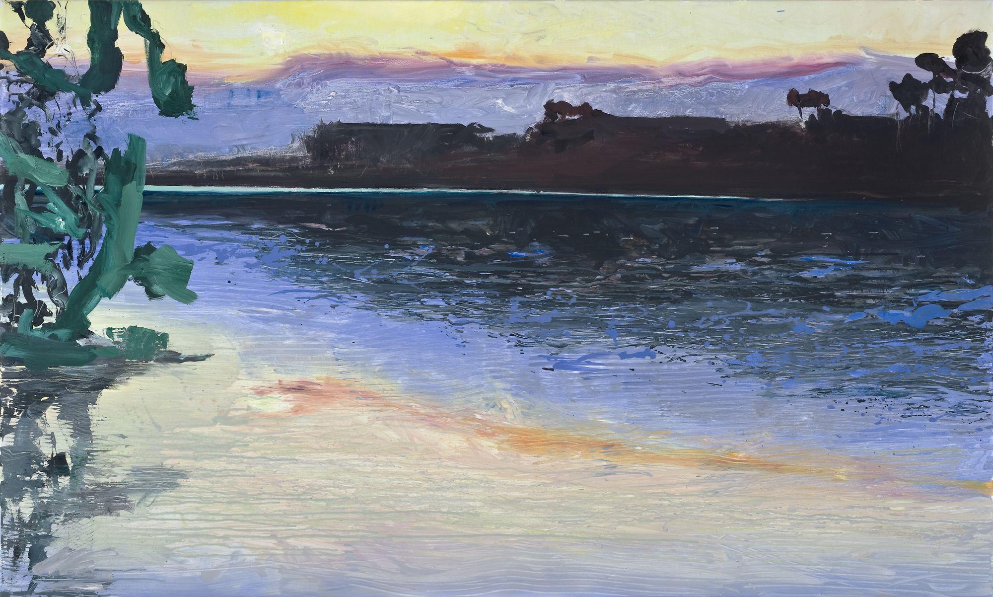 Ulrich Baehr | See am Abend, 2009, 90 x 150 cm, Öl / Leinwand