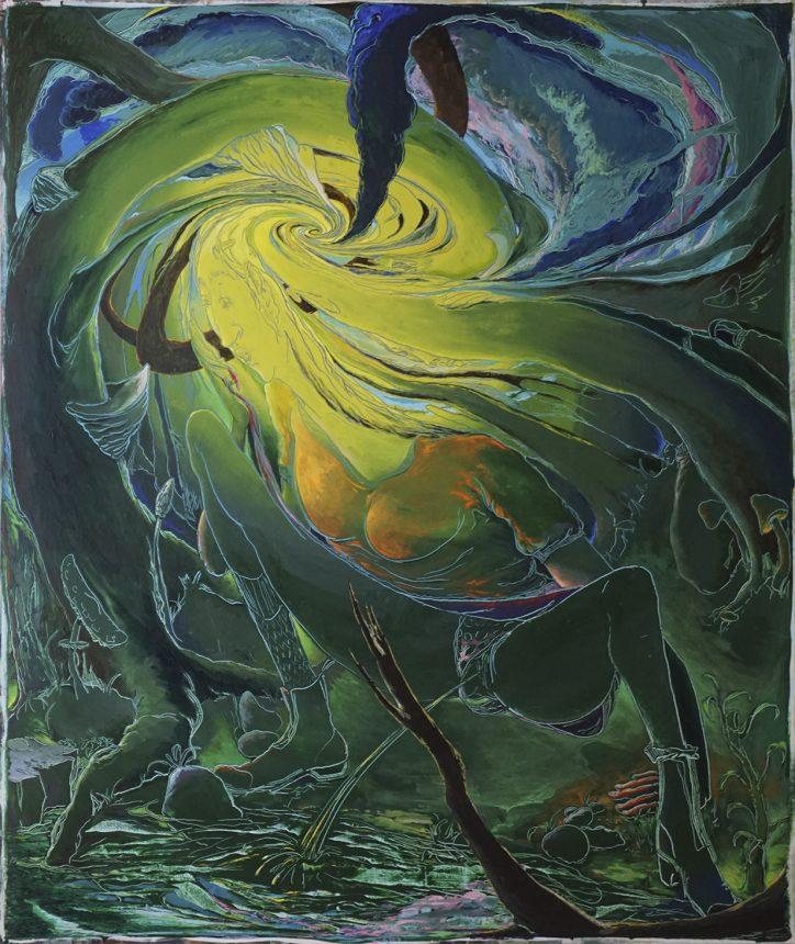 Schwere Sonne - Die Pisserein, 190 x 160 cm, 2018, Acryl auf Nessel