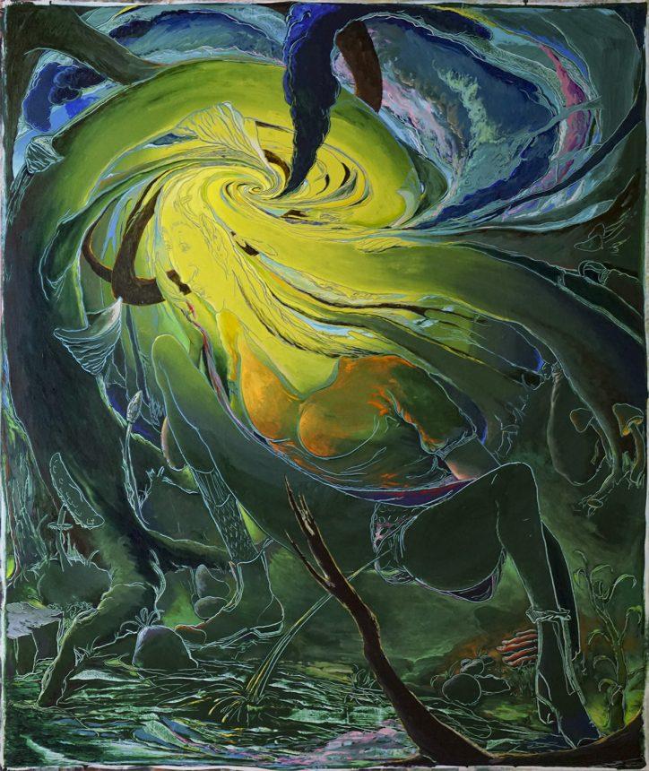 Schwere Sonne - Die Pisserein, 190 x 160 cm, 2018, Acryl auf Nessel web mk