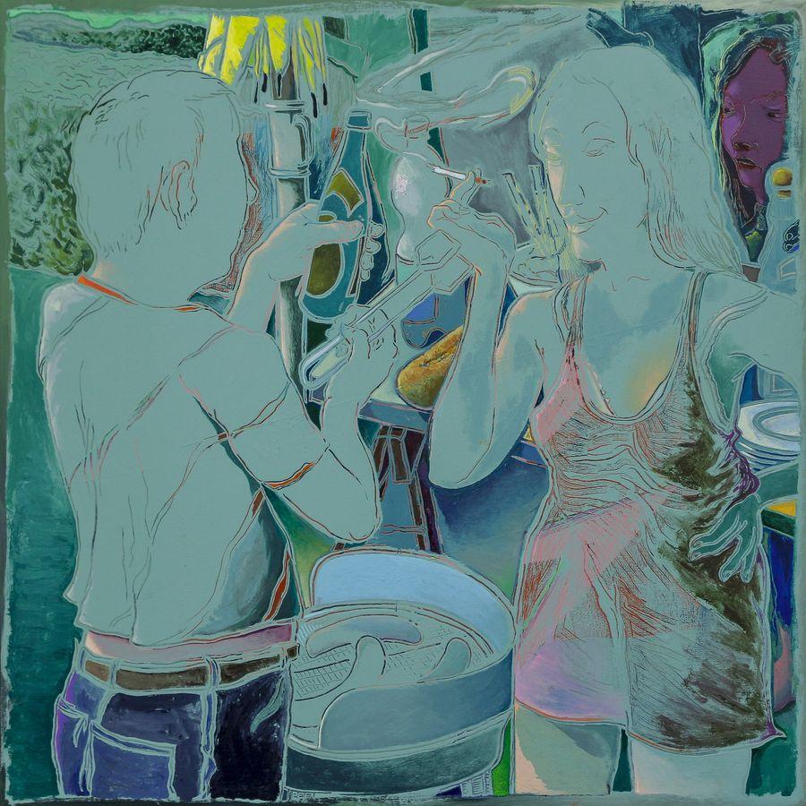 Arno Bojak | Grillen im Kopf, 90 x 90 cm, 2018, Acryl auf Nessel