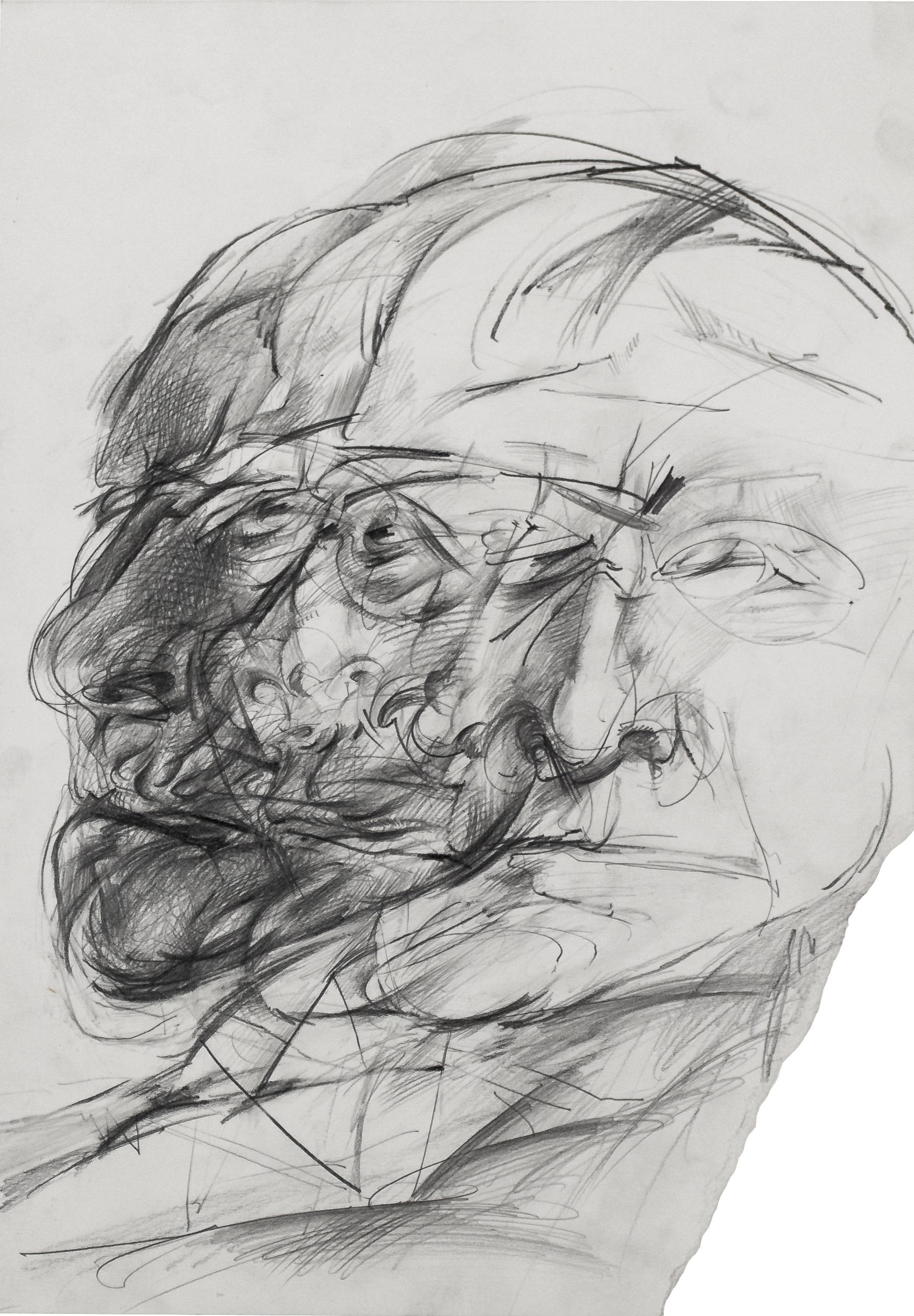 Christian Rickert | Studie für ein Portrait Max Beckmann 4.III-9.V.1983 - 59,4 x 42 cm - Bleistift auf Papier web