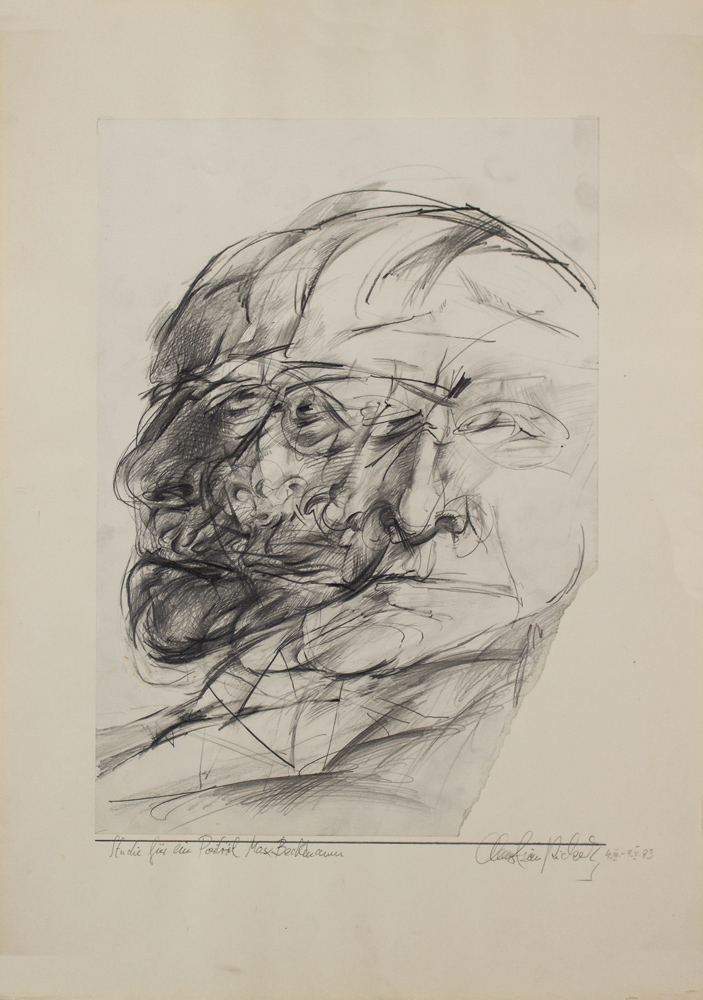 Christian Rickert   Studie für ein Portrait Max Beckmann 4.III-9.V.1983 - 59,4 x 42 cm - Bleistift auf Papier web