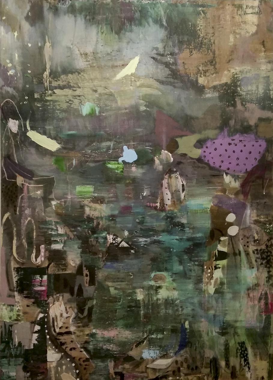 Kevin A. Rausch | Green Light, 2017, 175 x 125 cm, Mischtechnik / Lw