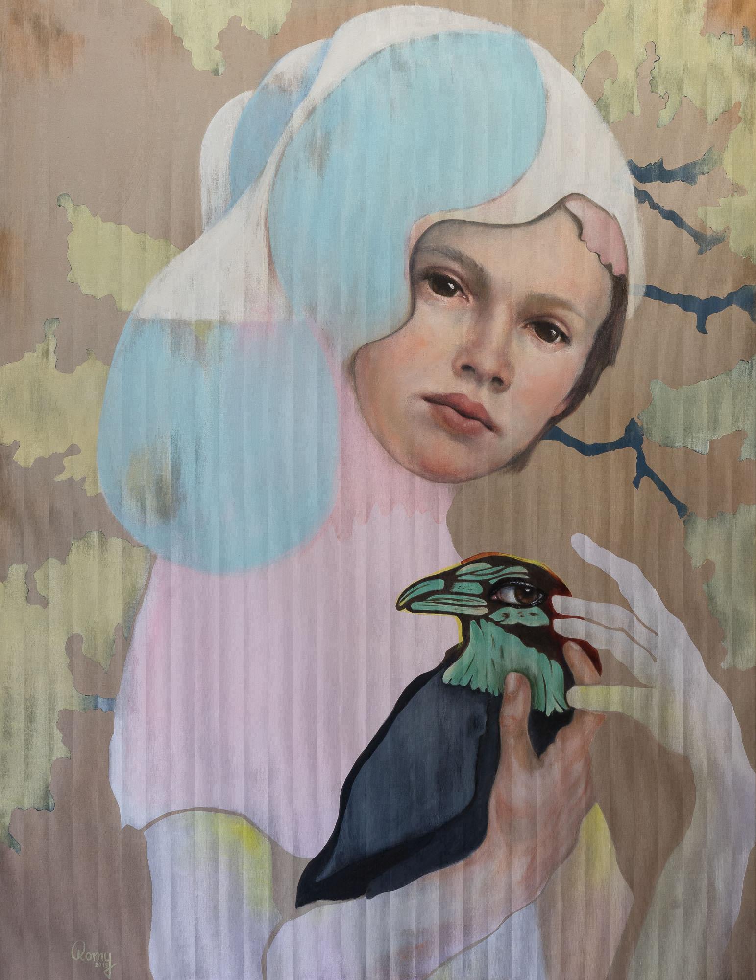 Romy Campe   Behütet, 130 x 100 cm, Öl und Acryl auf Leinwand