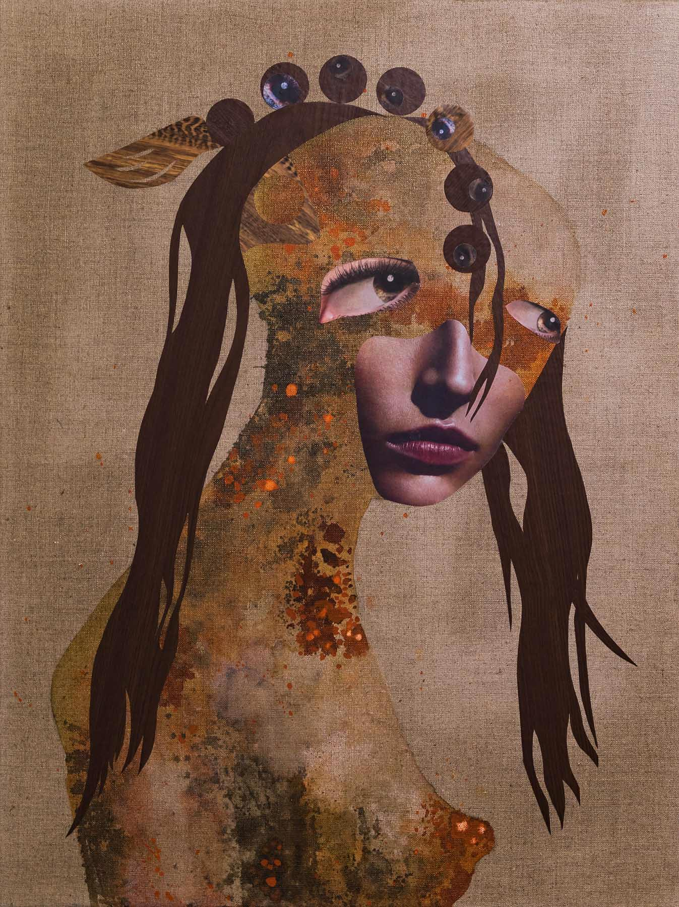 Romy Campe | Have A Look, 80 x 60 cm, Collage / Tusche auf Leinwand