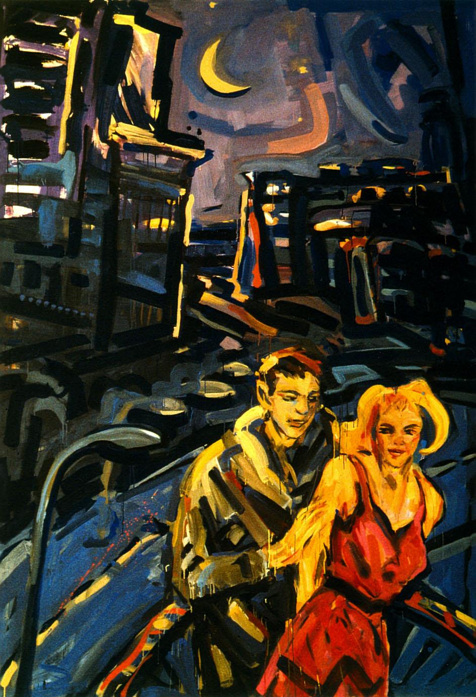 Barbara Quandt - Berlin bei Nacht-Paar_1984_Acryl-Nessel_250x170 cm