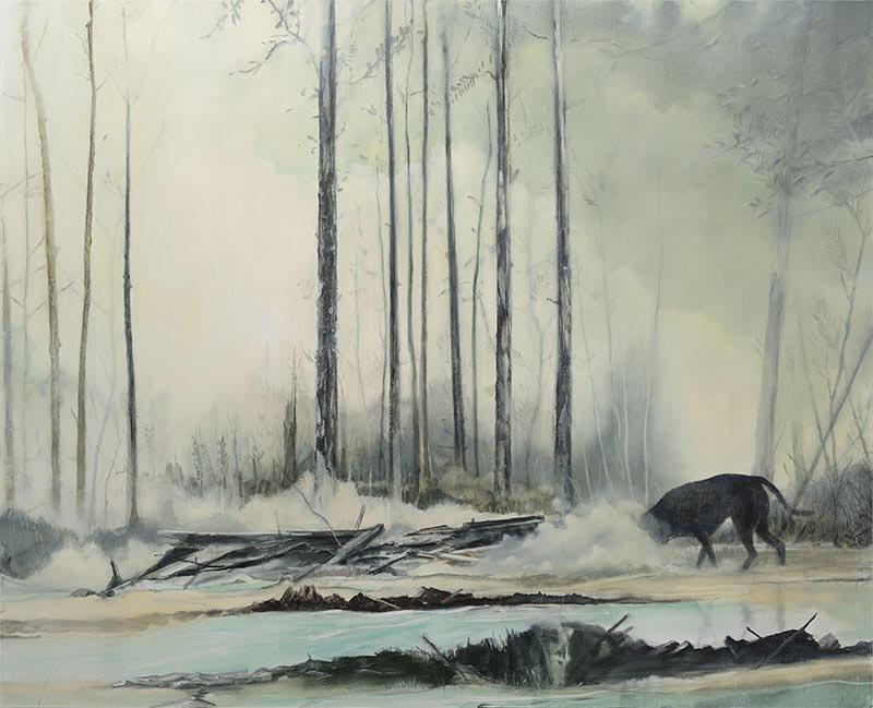Thomas Ritz | KatNr. 2020-1011, 245 x 200 cm, Pigment, Acrylharz auf Leinwand