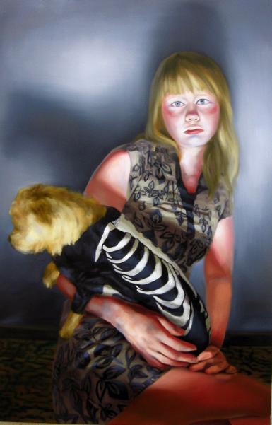 Mädchen mit Hund, 2011, 130 x 85 cm, Öl auf Nessel