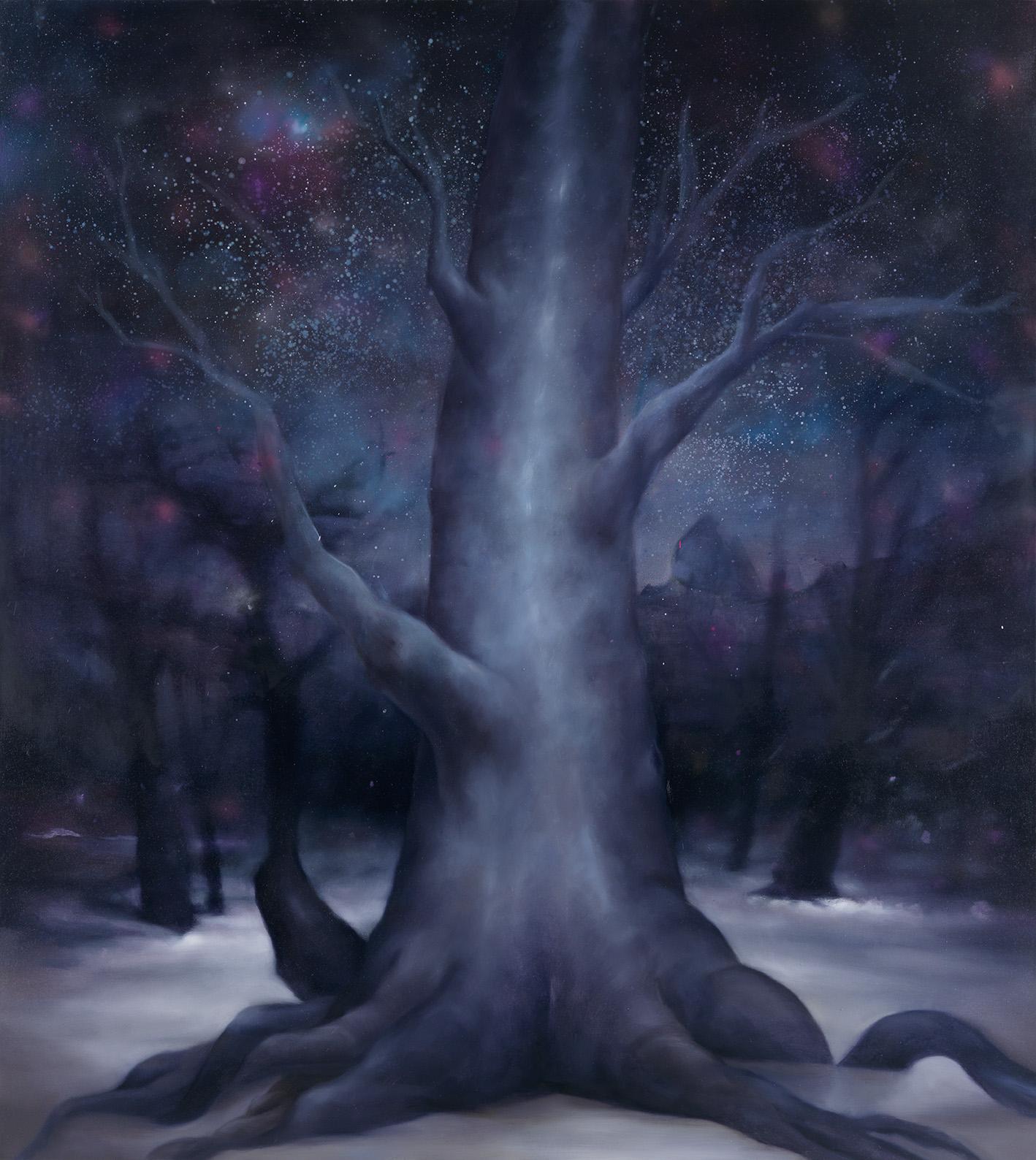 Simone Haack | Winternachtsbaum - 2021, 200 x 180 cm, Öl auf Baumwolle