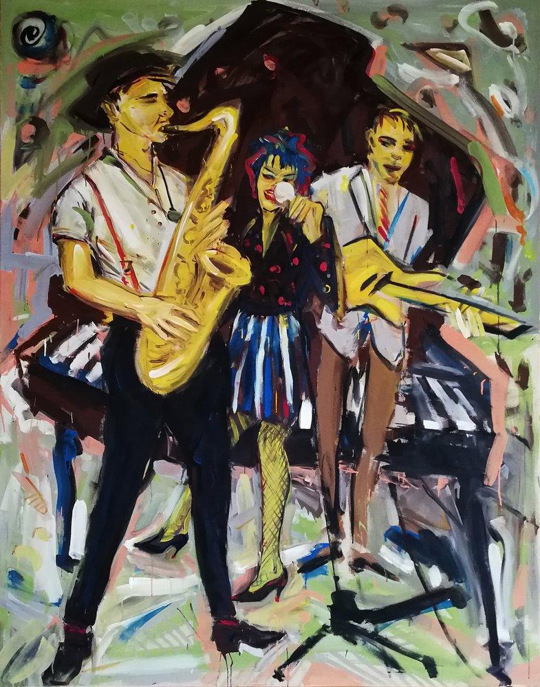 Barbara Quandt | Trio mit Saxs, 1983, Acryl auf Nessel, 190 x 150 cm