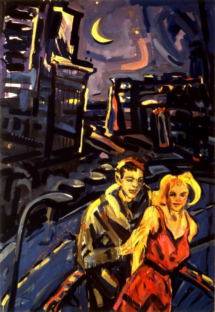 Barbara Quandt | Berlin bei Nacht - Paar, 1984, Acryl / Nessel, 250 x 170 cm