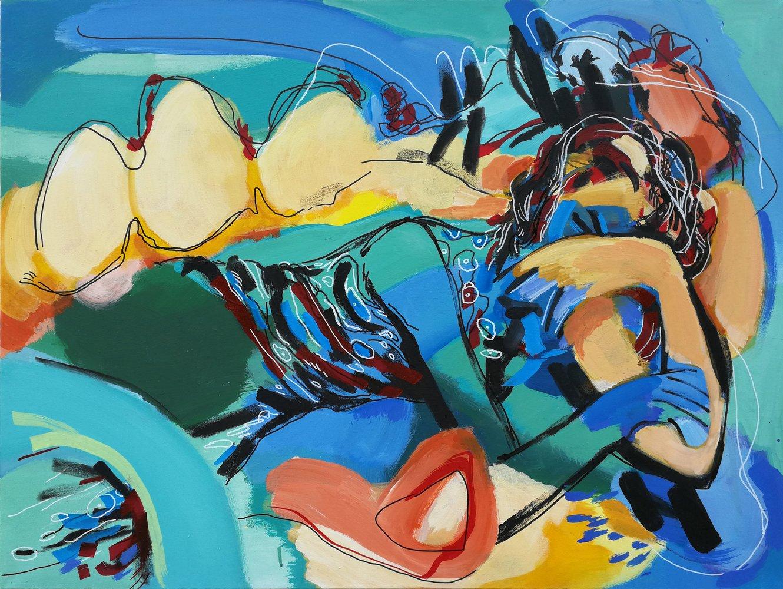 Barbara Quandt | Trauer, 2019, Acryl / Nessel, 60 x 80 cm