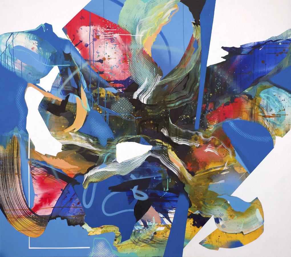 Julia Benz-Frequency – 2019, 140 x 160 cm Acryl, Tinte, Sprühfarbe / Lw