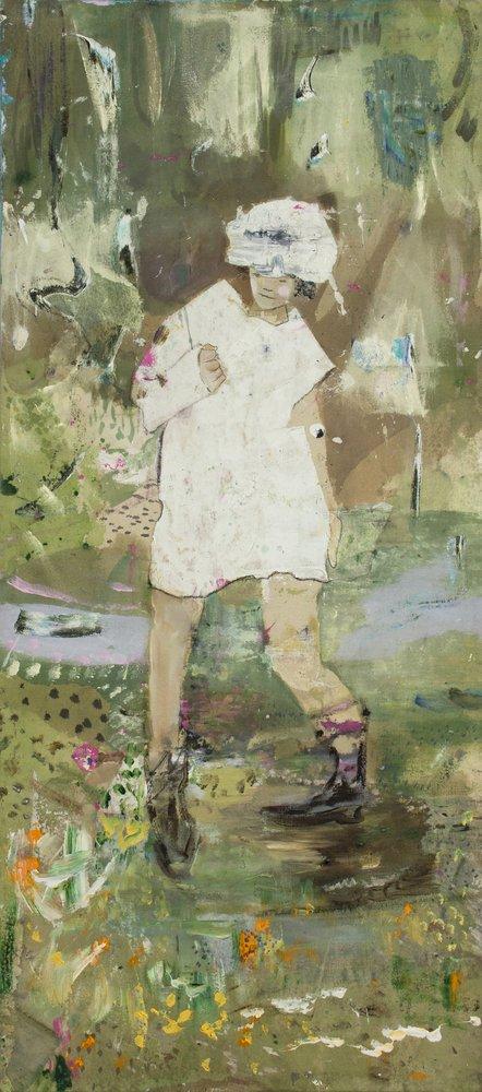 Kevin A. Rausch | Girls don't cry – 2020, 113 x 51 cm, Öl, Acryl und Buntstift auf Leinwand