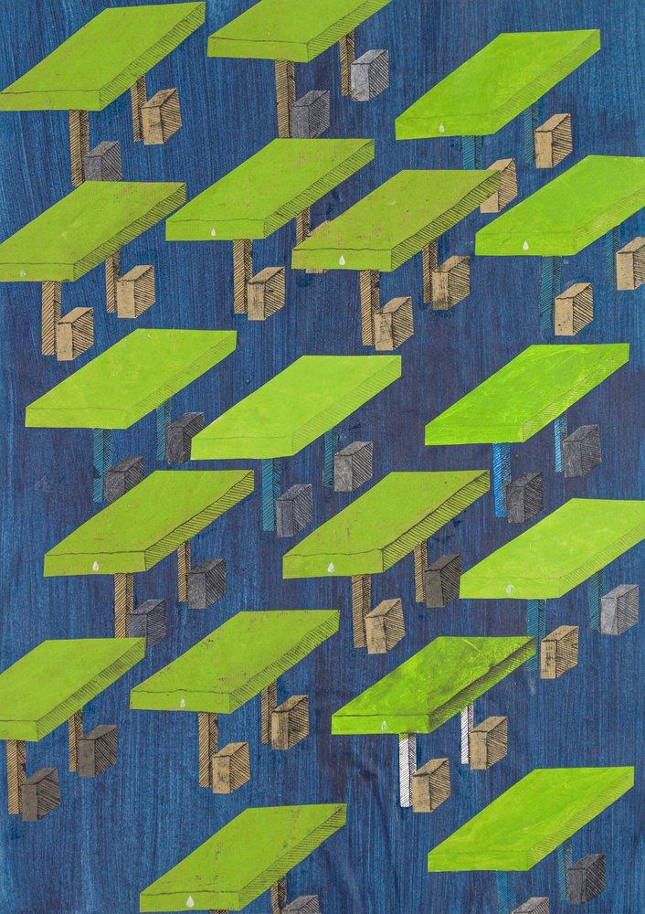 Walter Yu | Tankstellen (Serie Fehler der Menge) – 52 x 37 cm, 2019, Mischtechnik auf Papier