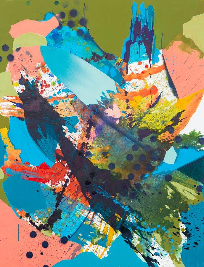 Julia Benz | Swing, 2020, Acryl, Tinte, Sprühfarbe auf Leinwand, 130cm x 100 cm