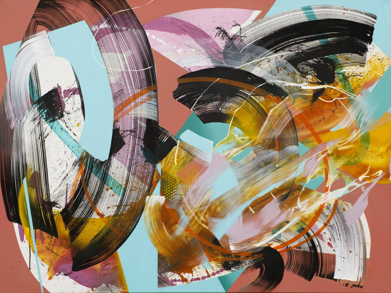Julia Benz | Bits and Pieces, acrylic, spraypaint on canvas, 120 x 160 cm, 2021