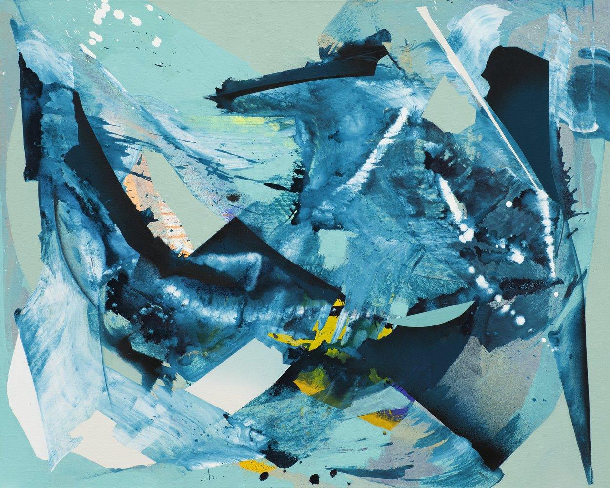 Julia Benz | Ice Skating, acrylic ,ink, spraypaint on canvas, 80 x 100 cm, 2021