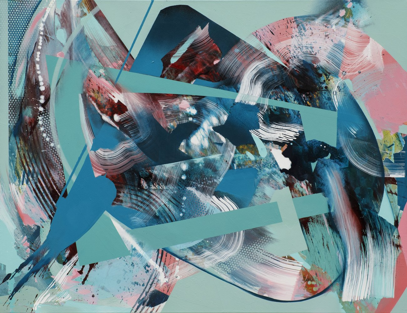 Julia Benz | It's not that complicated, acrylic, ink, spraypaint on canvas, 100 x 130 cm, 2021