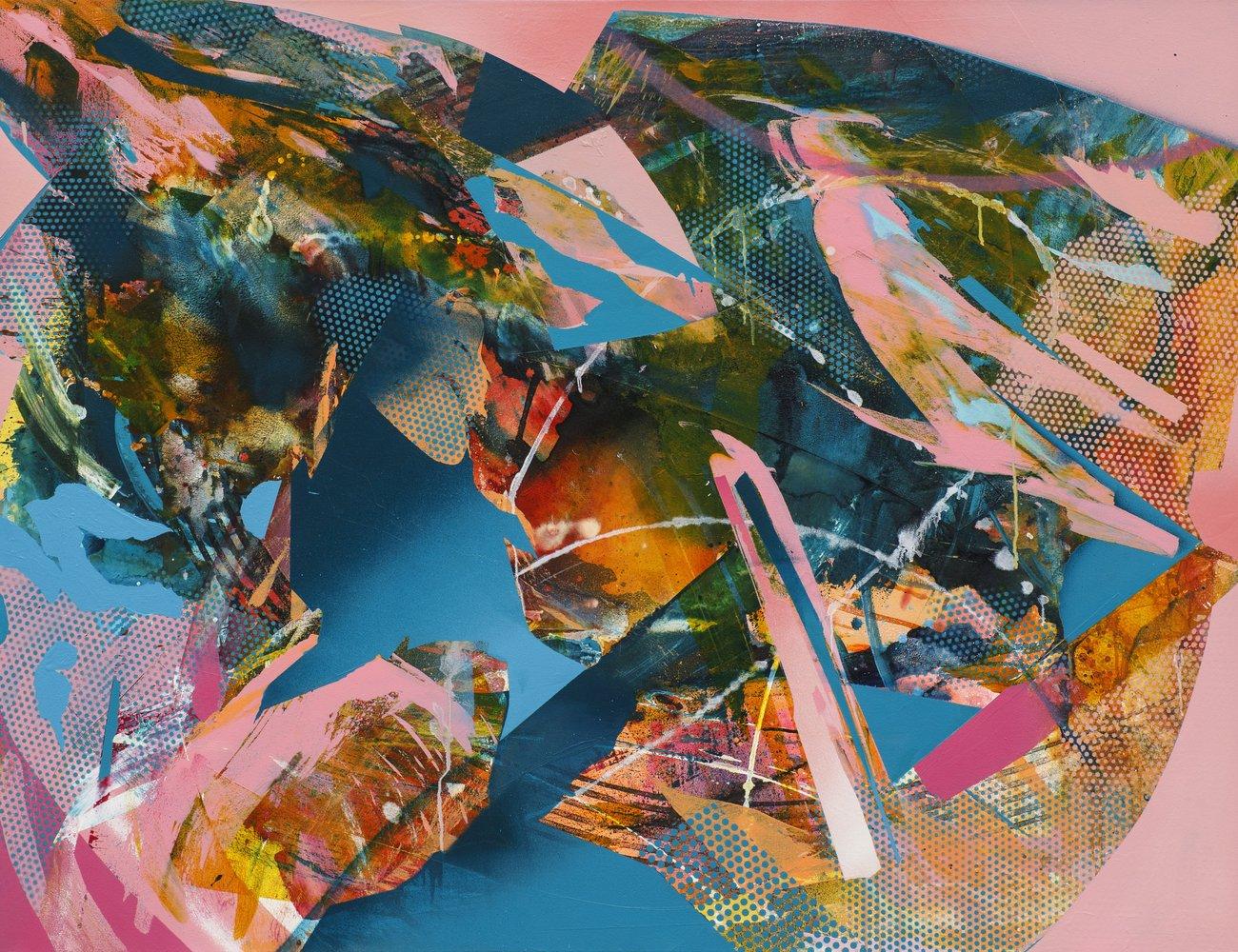 Julia Benz | Pleasure, acrylic, ink, spraypaint on canvas, 100 x 130 cm, 2021