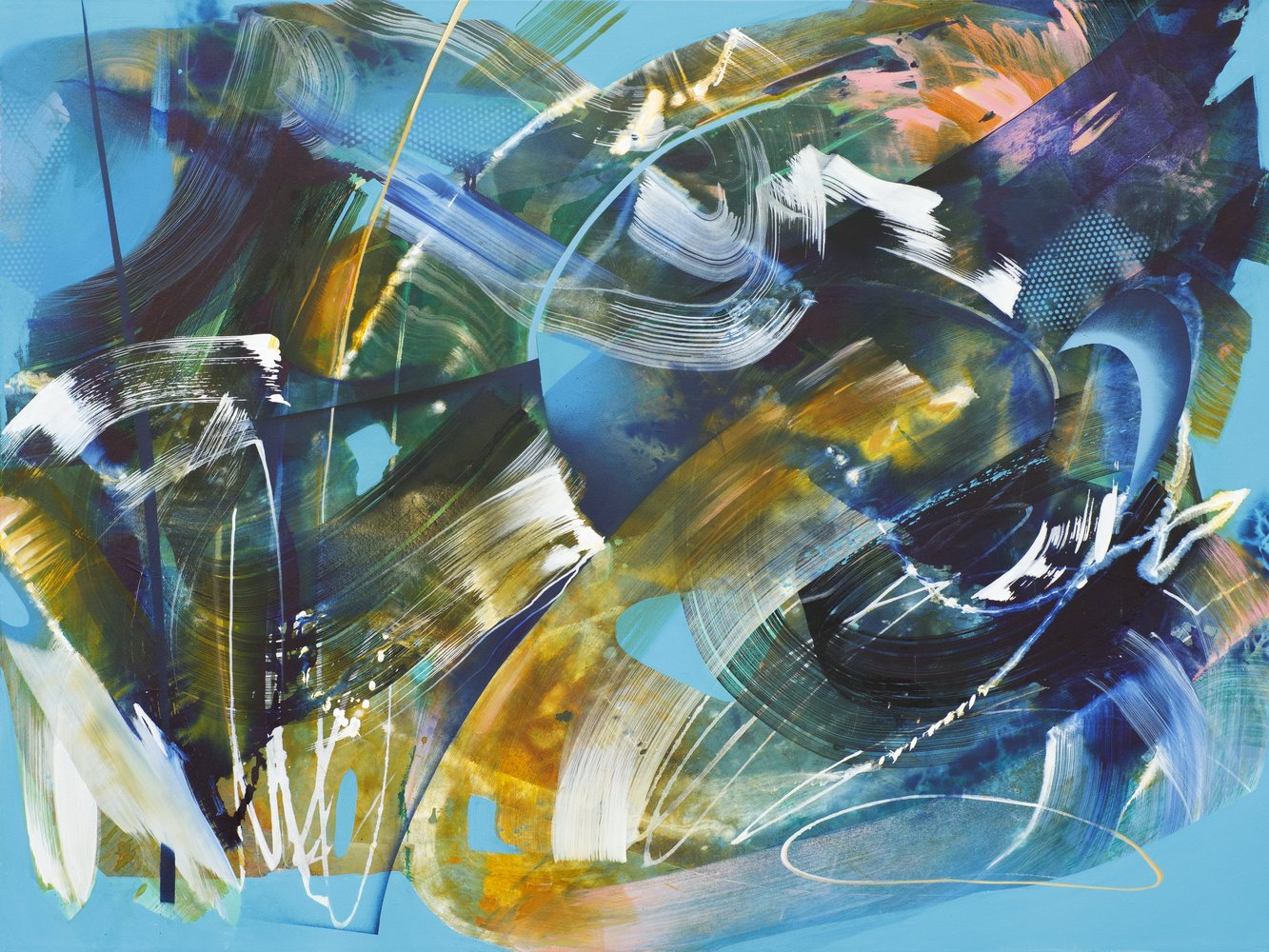 Julia Benz | Storm, acrylic, spraypaint on canvas, 120 x 160 cm, 2021