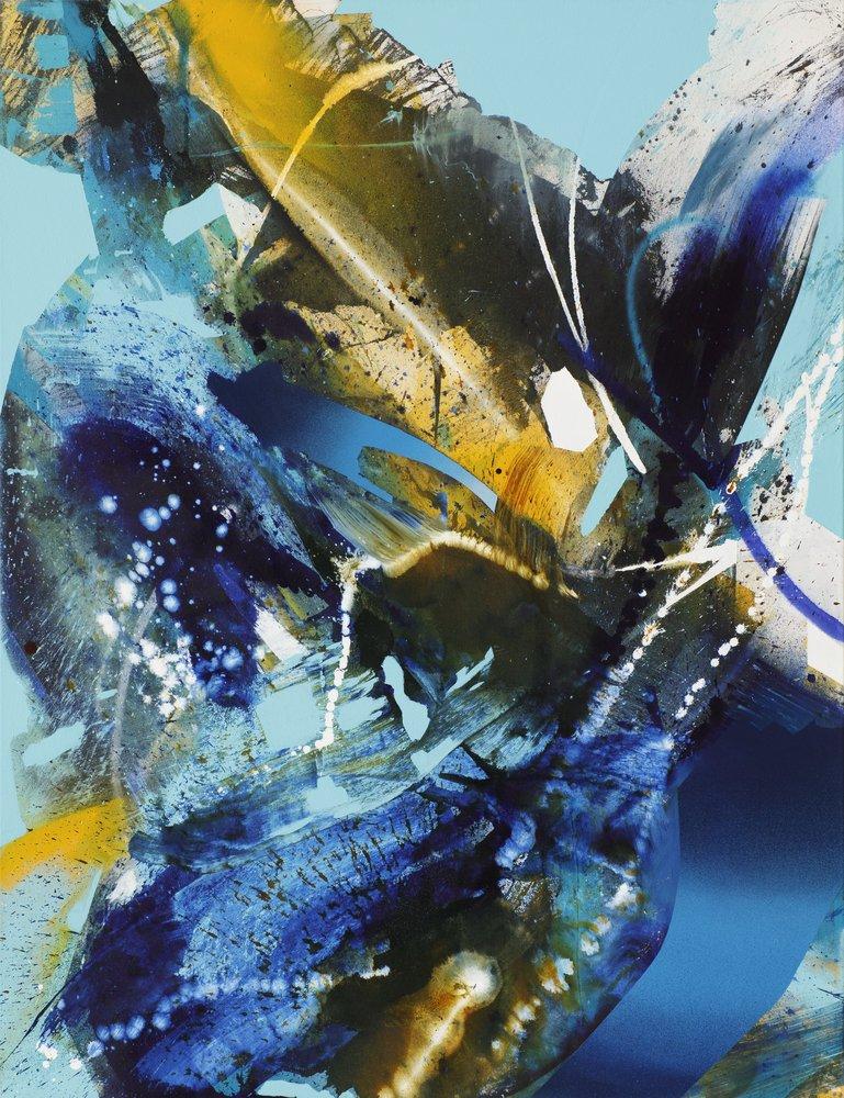 Julia Benz | Warm Cold, acrylic, ink, spraypaint on canvas, 130 x 100 cm, 2021