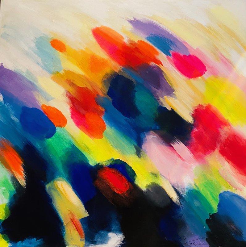 Simone Kornfeld – O.T. (Serie Interferenzen) | 1987, 150 x 150 cm, Acryl / Leinwand