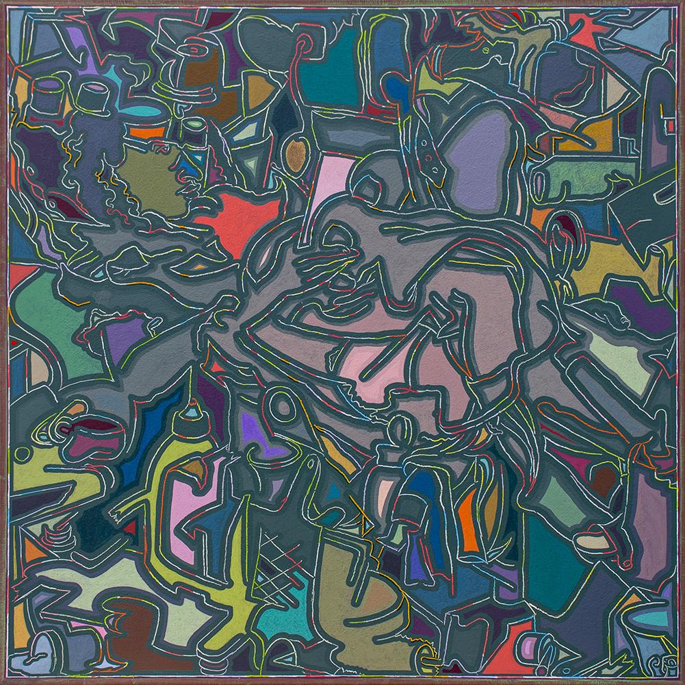 Arno Bojak | Bettlektüre Universum, Serie New Order, 120 x 120 cm, 2021, Acryl auf Nessel