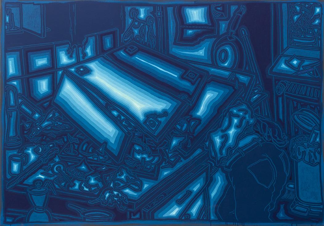 Neulich Küche Hängeschrank, 130 x 185 cm, 2020, Acryl auf Nessel