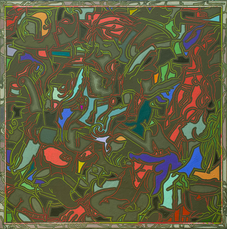 Arno Bojak   Gewinde ohne Seele, 120 x 120 cm, 2021, Acryl auf Nessel