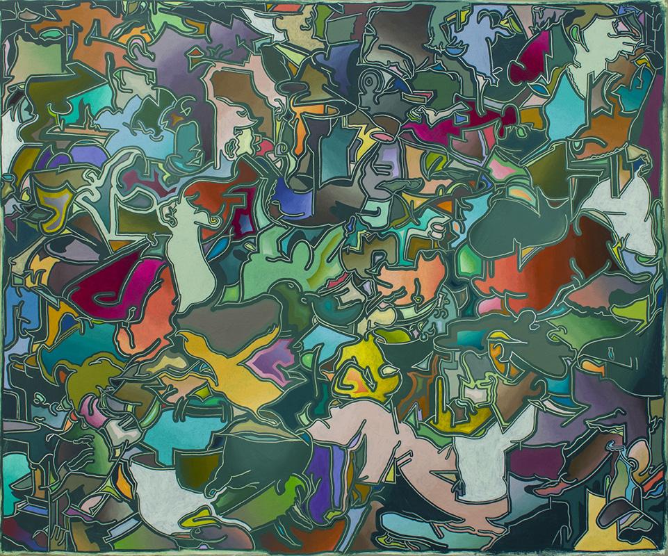 Arno Bojak   Bettlektüre Universum #NewOrder – 120 x 120 cm, 2021, Acryl auf Nessel