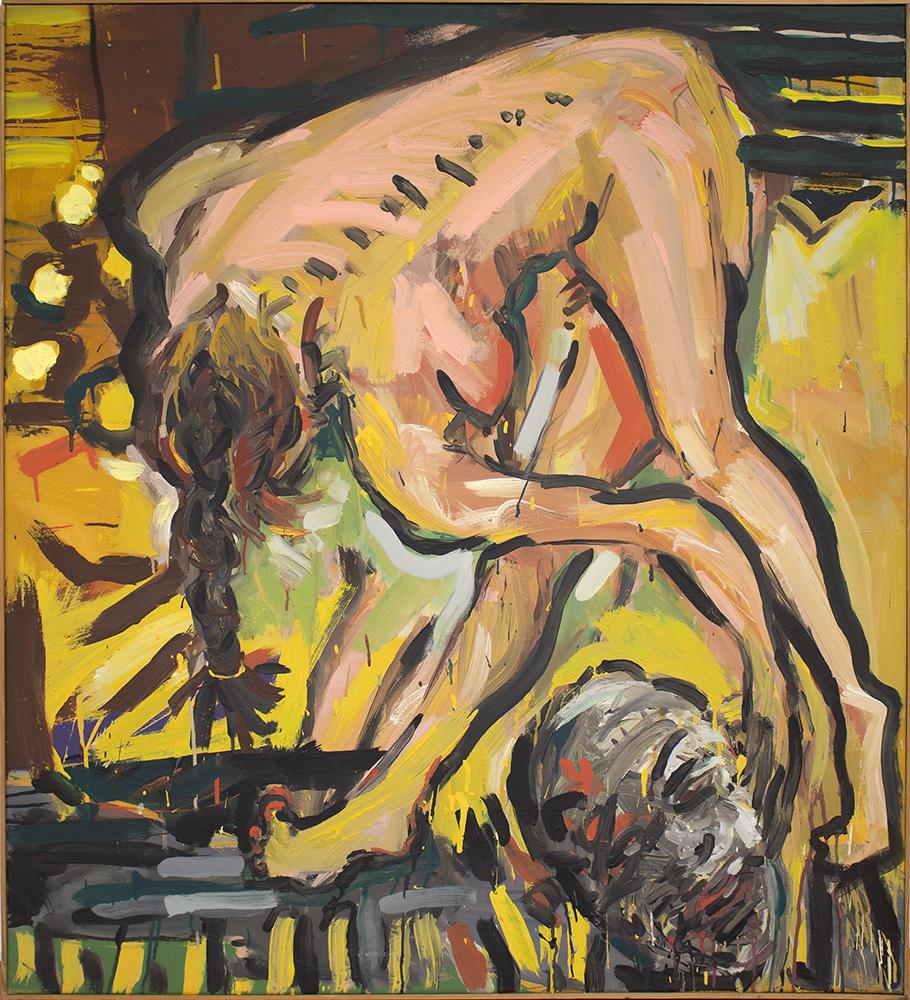 Barbara Quandt | Stein ins Rollen bringen, 1984-28, 110 x 100 cm, Acryl auf Leinwand
